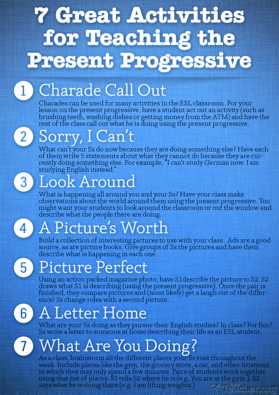 7 Great Activities to Teach the Present Progressive: Poster