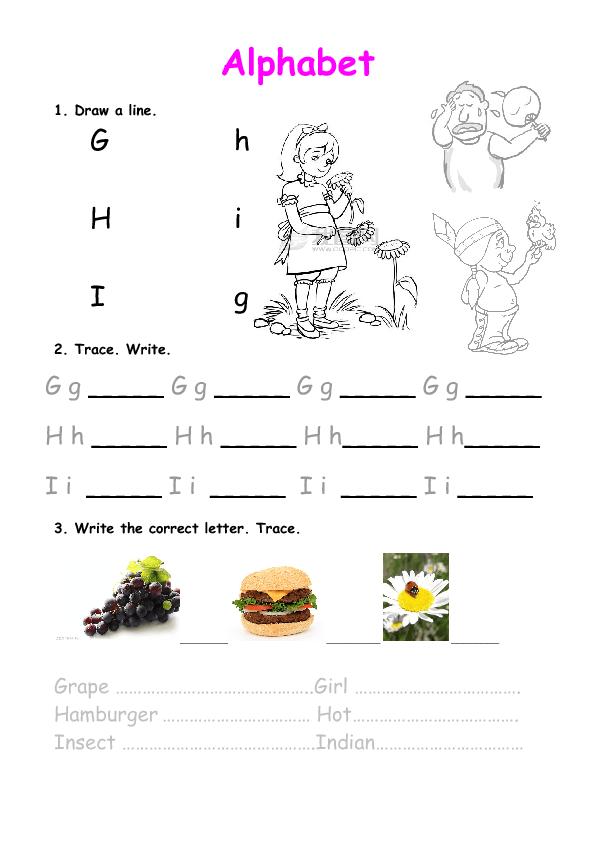 alphabet practice ghi