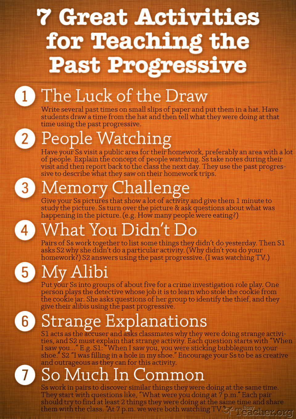 7 Great Activities to Teach the Past Progressive: Poster
