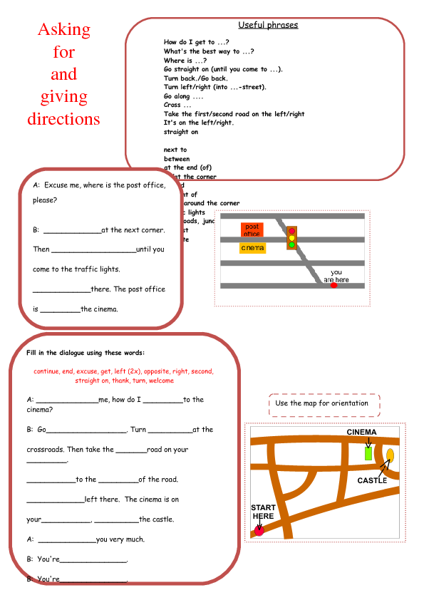 for Giving Directions – Directions Worksheet