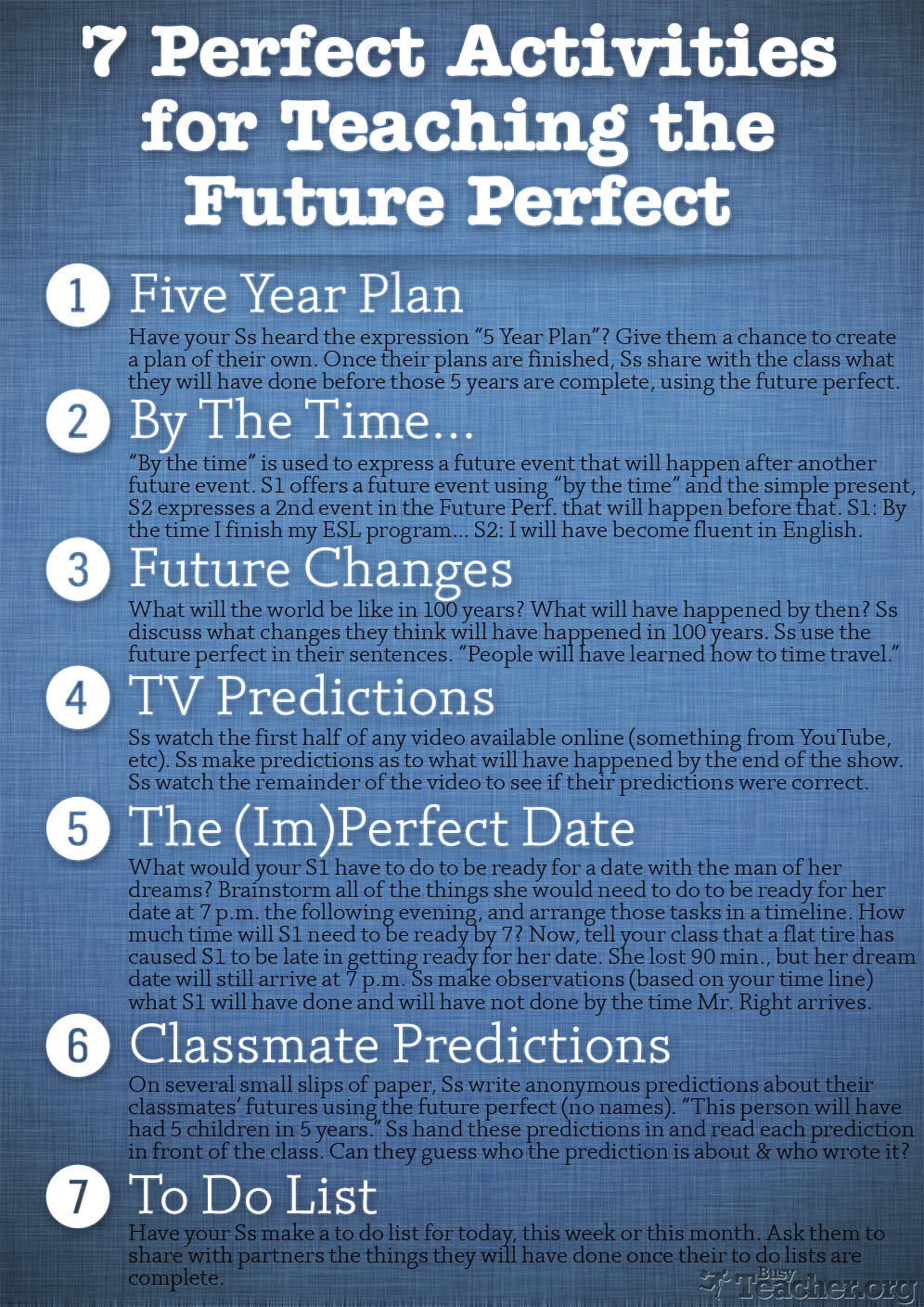 7 Perfect Activities to Teach the Future Perfect: Poster