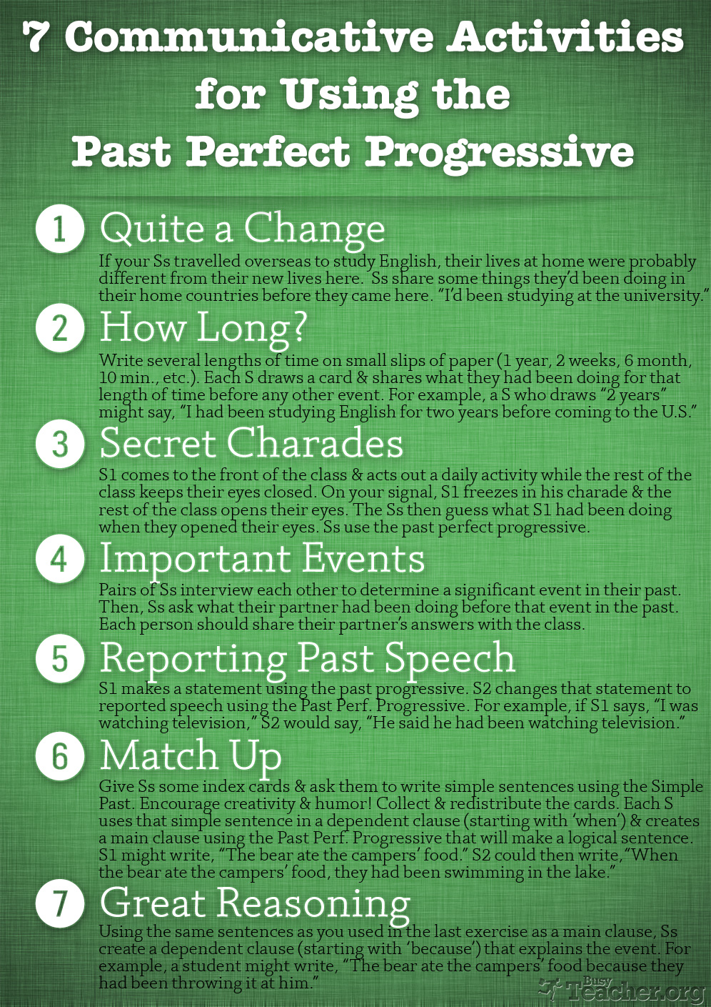 7 Communicative Activities to Review the Past Perfect Progressive: Poster