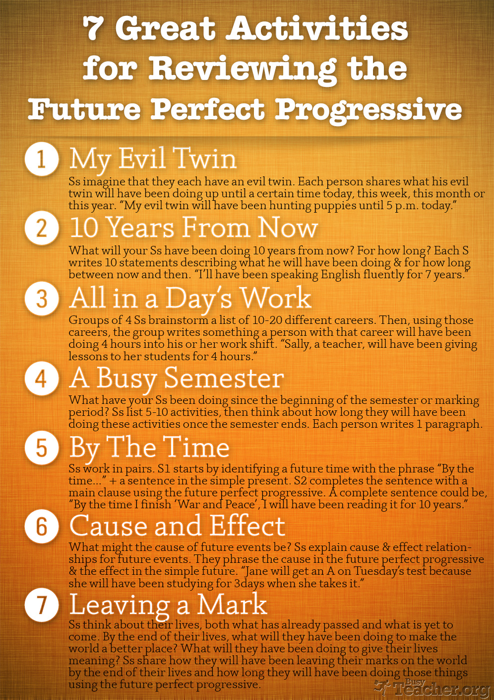 7 Great Activities to Review the Future Perfect Progressive: Poster