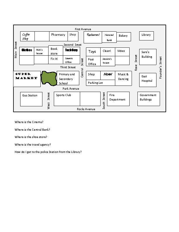 Directions Places – Map Directions Worksheet