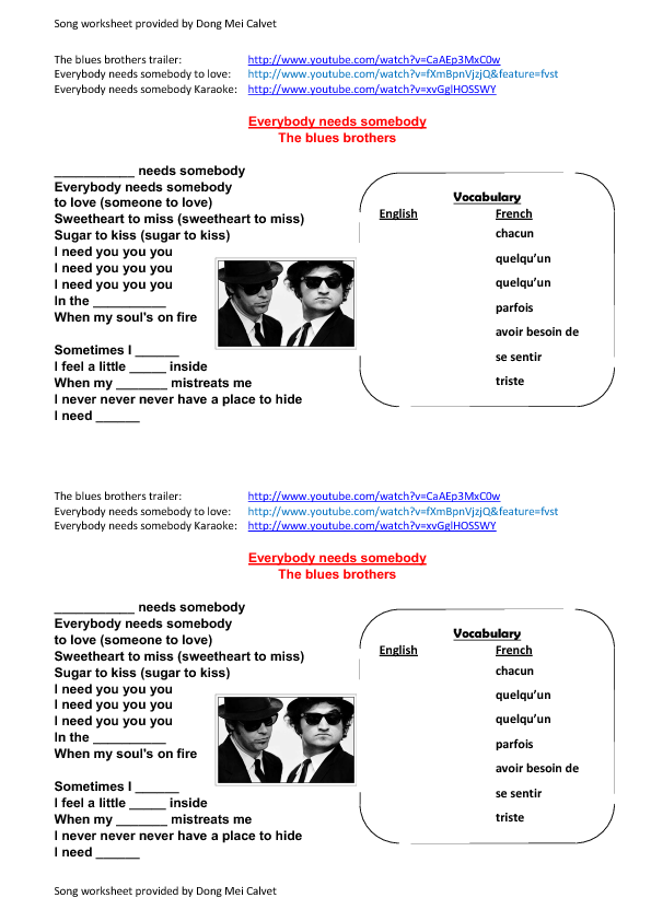 Lyric blues songs lyrics : Worksheet: Everybody Needs Somebody by The Blues Brothers