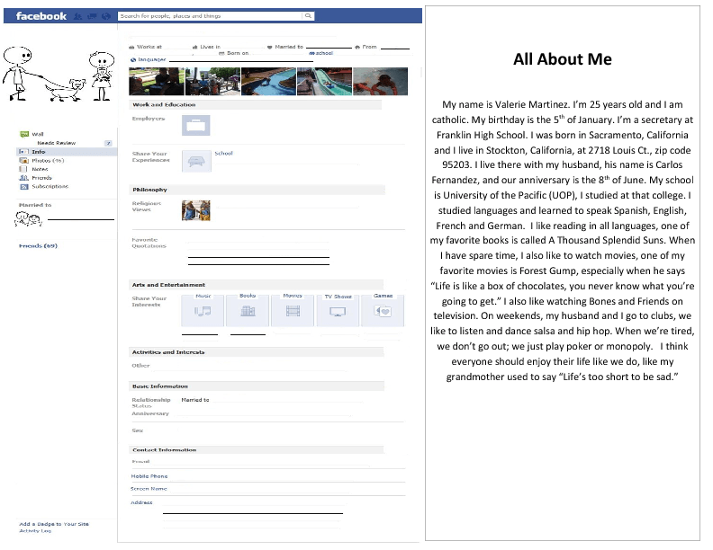 about me template for students - all about me facebook profile template