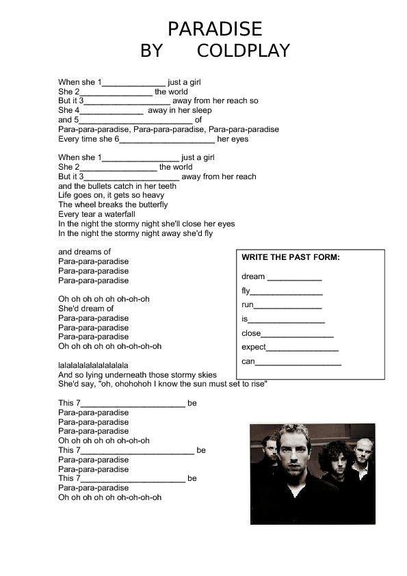 Song Worksheet Paradise by Coldplay