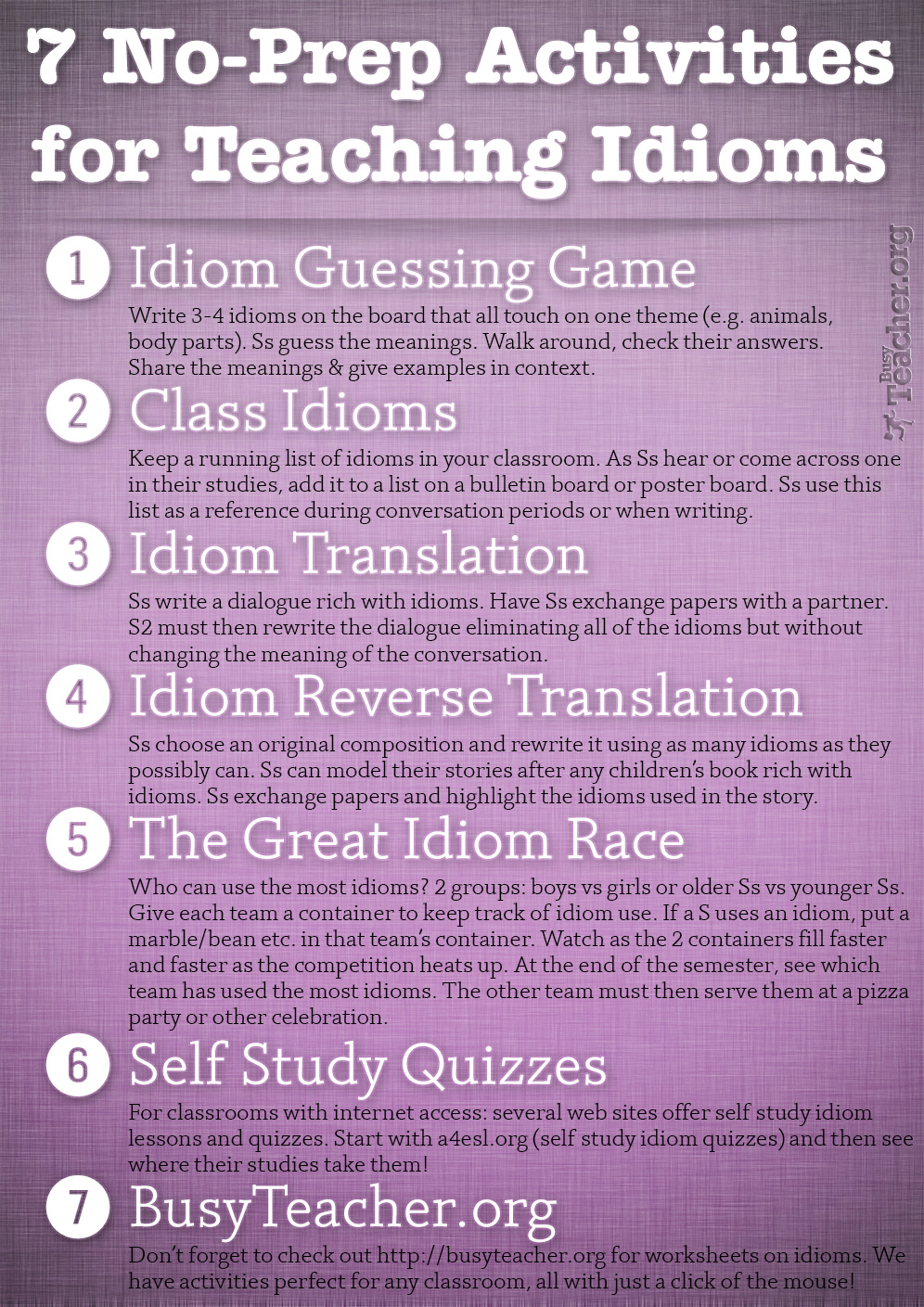 7 No-Prep Activities for Teaching Idioms: Poster