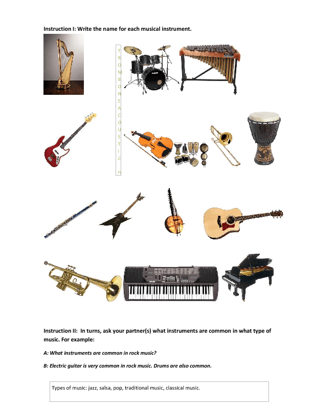 types of musical instruments This article is all about various different types of musical instruments and players, with names and pictures, musical instruments and their sounds, musical instruments and their players, musical instruments and their exponents.