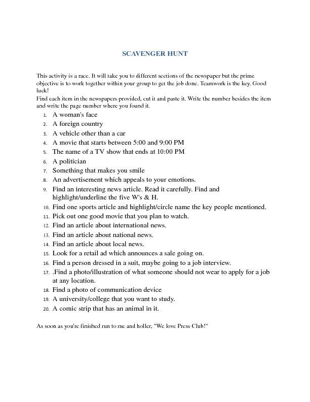 Hunt for NewspaperinEducation Activity or the Press Club – Scavenger Hunt Worksheet