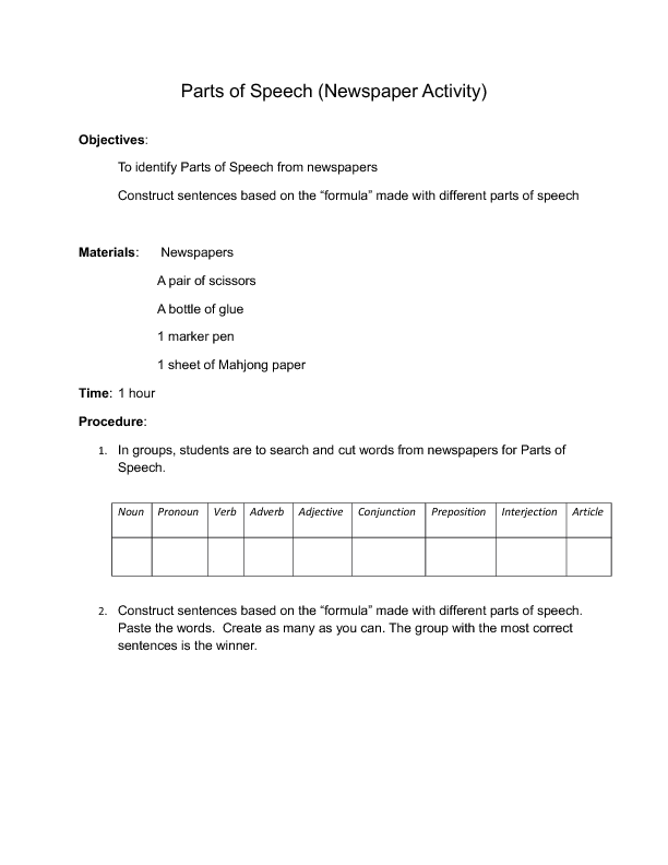 39 FREE Newspaper English Worksheets – Parts of Speech Worksheets 6th Grade