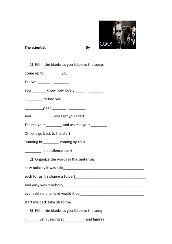 Song Worksheet The Scientist By Coldplay