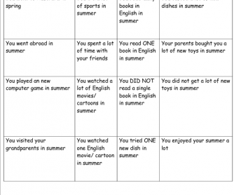 Human Bingo: How I Spent My Summer Holiday
