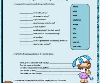 Daily Routines, Wh- Questions and Personal Pronouns Worksheet