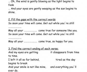 Song Worksheet: Your Time Will Come by Amy MacDonald