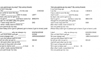 Song Worksheet: Are You Gonna Go My Way? by Lenny Kravitz