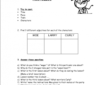 Movie Worksheet: Hoi Polloi - The 3 Stooges