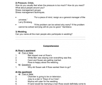 Friends Worksheet, Season 2 Episode 11 - The One With The Lesbian Wedding