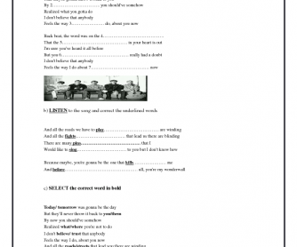 Song Worksheet: Wonderwall by Oasis