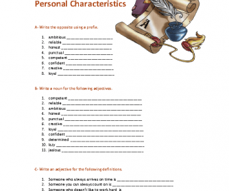 Personal Characteristics Worksheet