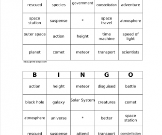 Space Bingo Cards