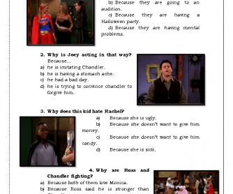 Friends Worksheet: The Halloween Party [Season 8]