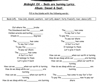 Song Worksheet: Beds are Burning by Midnight Oil