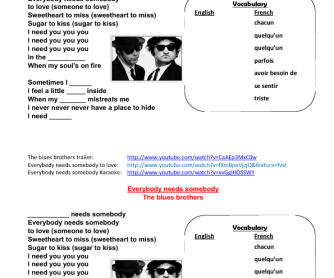 Song Worksheet: Everybody Needs Somebody by The Blues Brothers