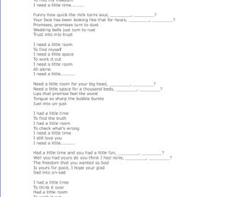 Song Worksheet: A Little Time by Beautiful South