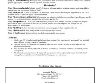 how to write your cv in english - Resume In English