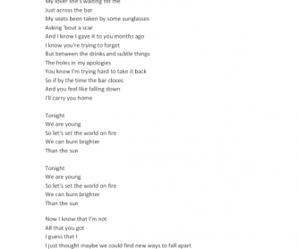 Song Worksheet: We Are Young by Fun
