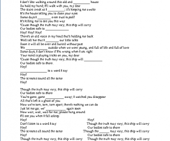 Song Worksheet: Of Monsters and Men by Little Talks