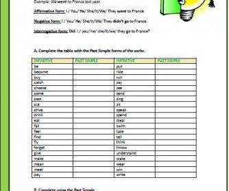 Past Simple Intermediate Worksheet