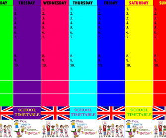 School Timetable for Kids