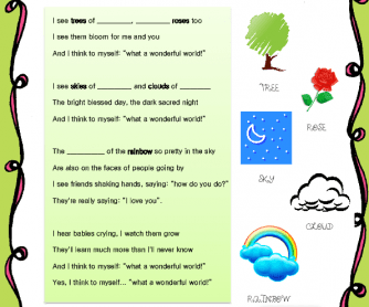 Song Worksheet: What A Wonderful World by Louis Armstrong