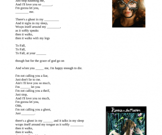 Song Worksheet: I'm Not Calling You A Liar by Florence and the Machine