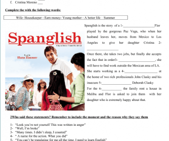 Movie Worksheet: Spanglish