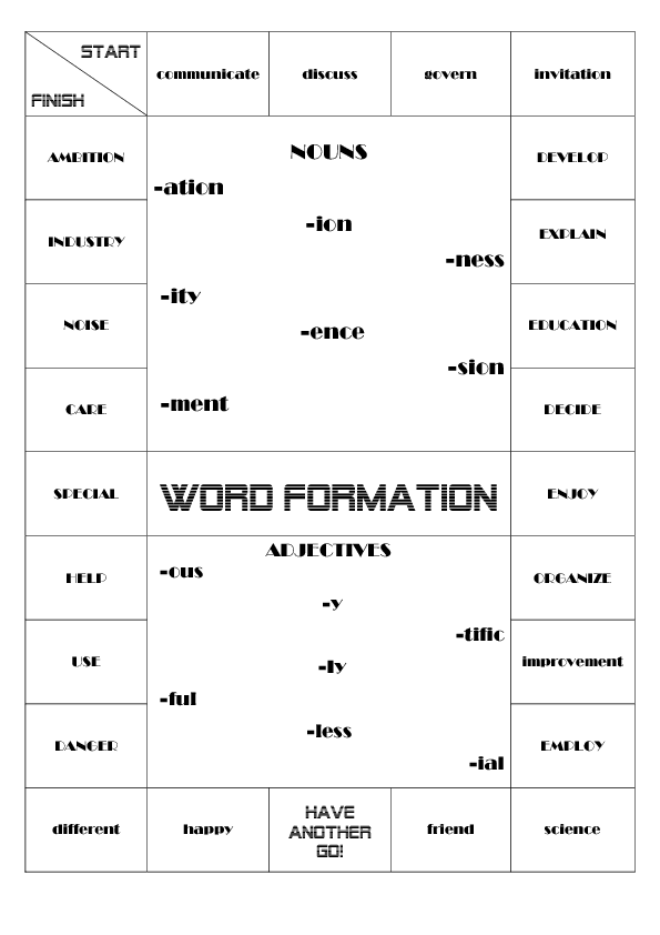 Word Formation Boardgame - Word formation