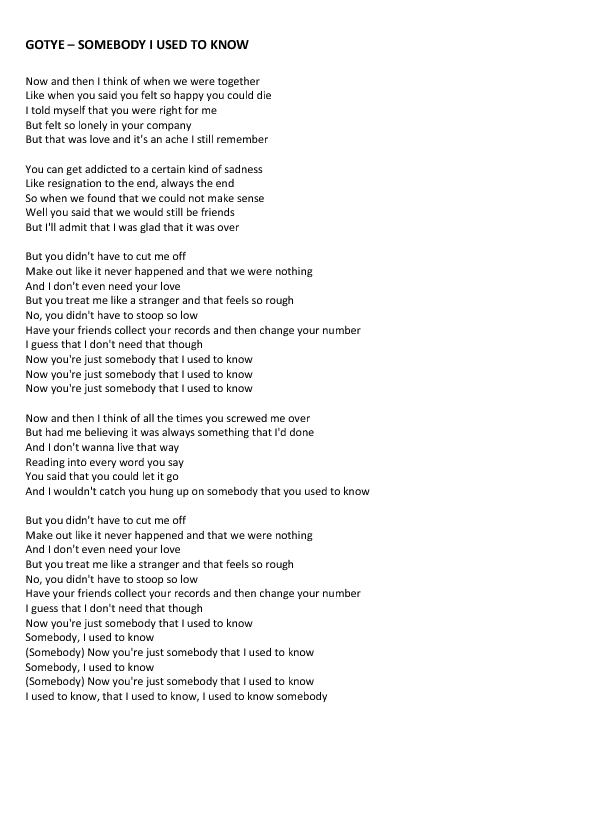 somebody that i used to know lyrics meaning