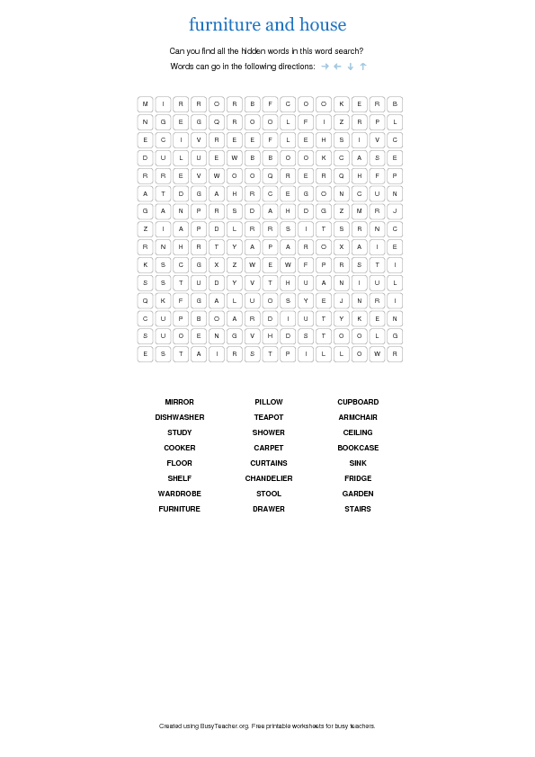 Furniture and House Wordsearch