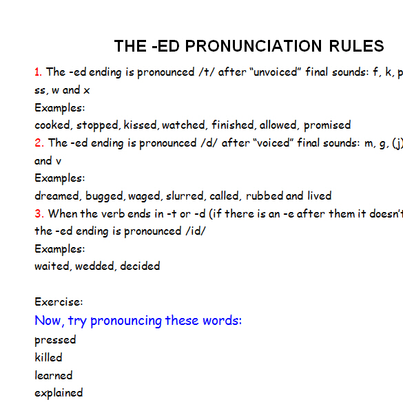 The Ed Pronunciation Rules