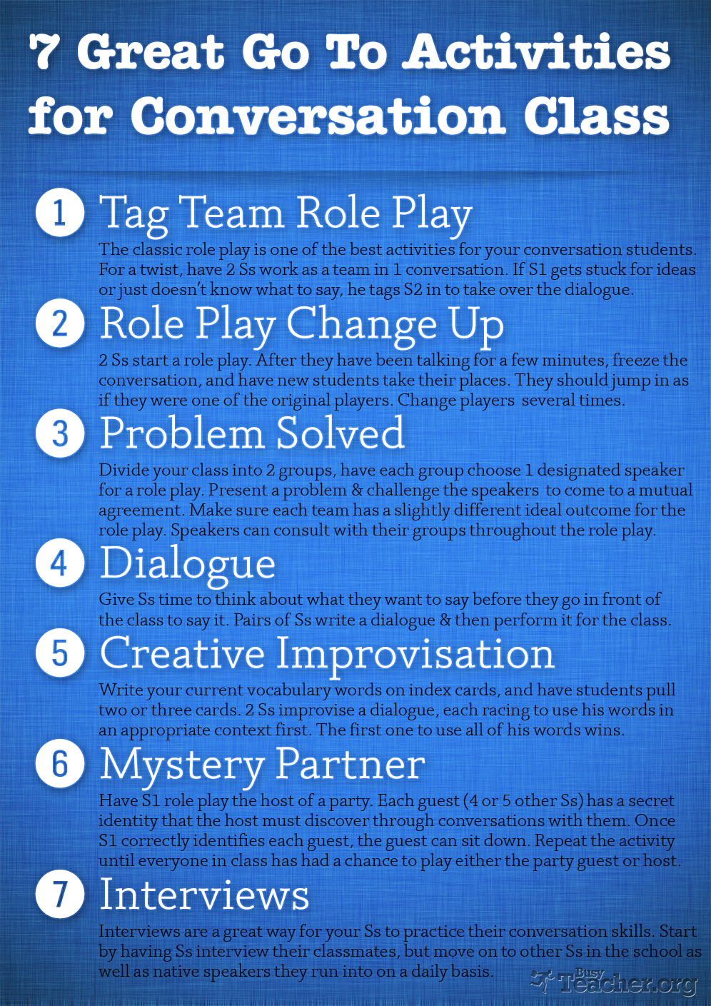 7 Great Go To Activities for Conversation Class: Poster