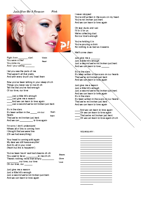 Song Worksheet Just Give Me A Reason By Pink-2566