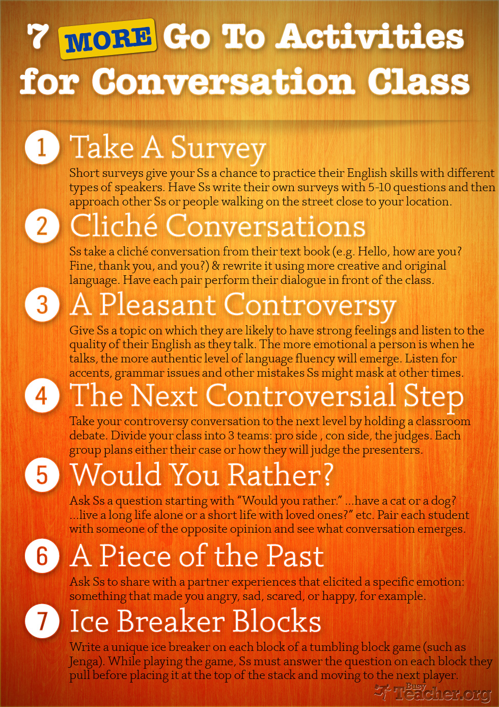 7 More Go To Activities for Conversation Class: Poster