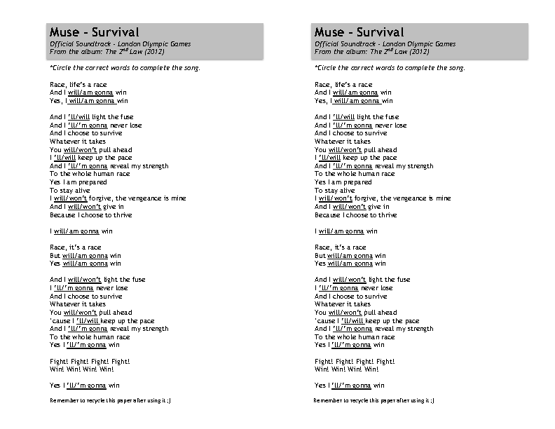 Song Worksheet: Survival by Muse
