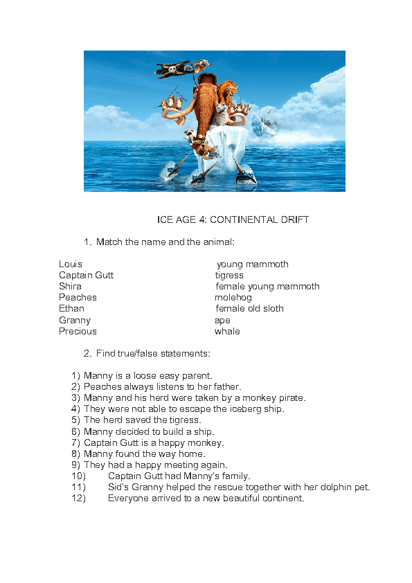 Ice Age 4 Continental Drift Worksheet