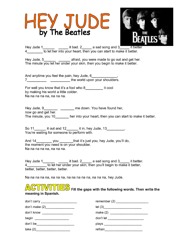Worksheet Hey Jude By The Beatles Imperatives
