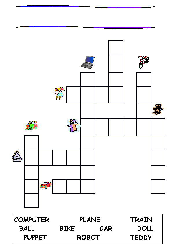 Modular Classroom Crossword ~ Toys crossword