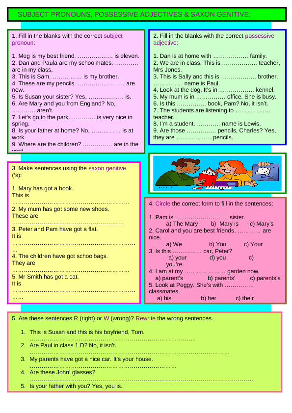 Possessive pronouns or Possessive determiners Exercise