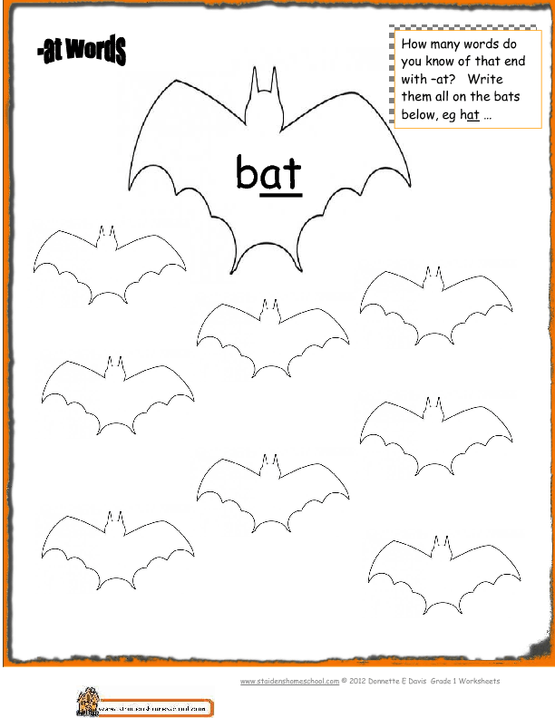 Printables Phonics Worksheets Grade 1 halloween phonics at words worksheet prek grade1
